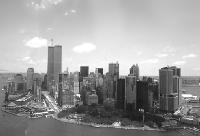 Black and white photo New York City - Downtown Manhattan Skyline - aerial view